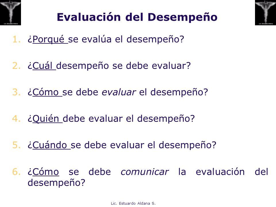 Evaluación del Desempeño 1.¿Porqué se evalúa el desempeño? 2.¿Cuál desempeño se debe evaluar? 3.¿Cómo se debe evaluar el desempeño? 4.¿Quién debe eval