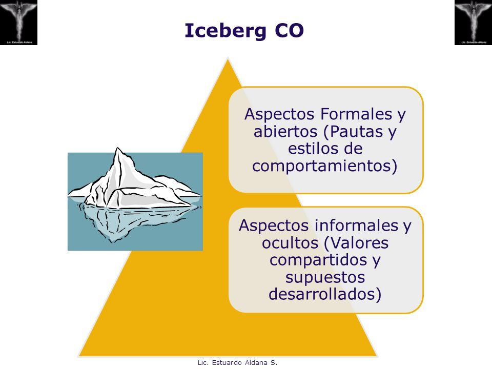 Iceberg CO Aspectos Formales y abiertos (Pautas y estilos de comportamientos) Aspectos informales y ocultos (Valores compartidos y supuestos desarroll