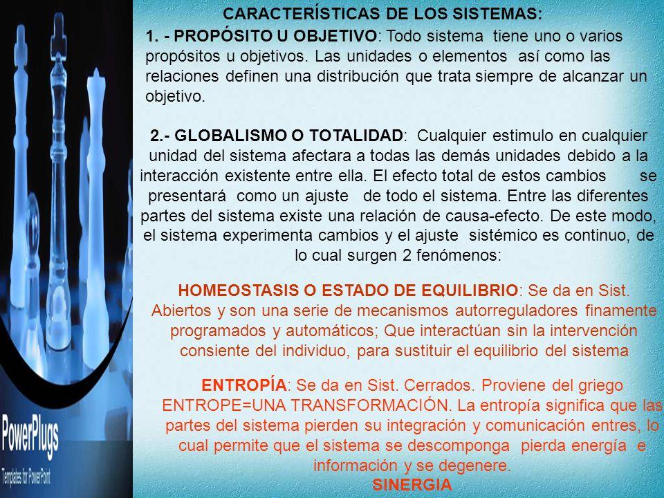 CARACTERÍSTICAS DE LOS SISTEMAS: 1. - PROPÓSITO U OBJETIVO: Todo sistema tiene uno o varios propósitos u objetivos. Las unidades o elementos así como