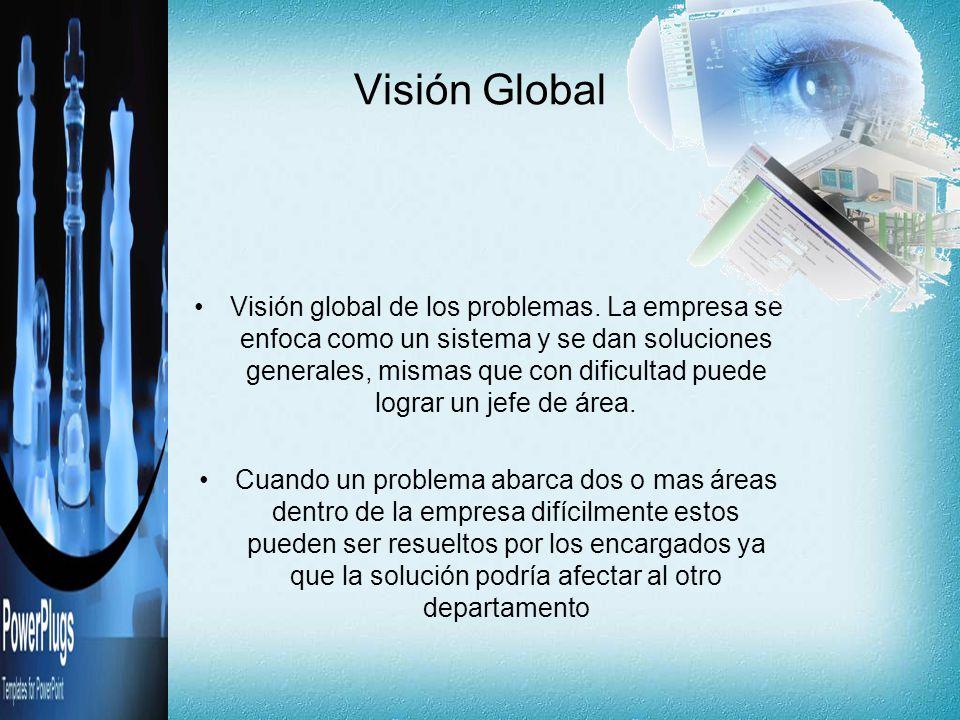 Visión Global Visión global de los problemas. La empresa se enfoca como un sistema y se dan soluciones generales, mismas que con dificultad puede logr