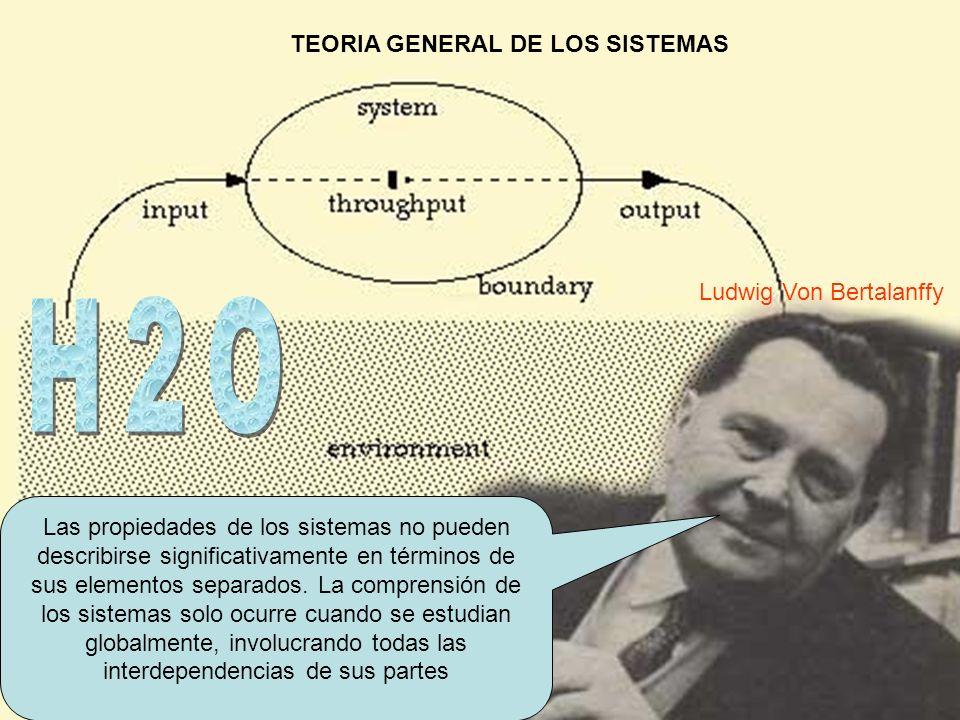 TEORIA GENERAL DE LOS SISTEMAS Las propiedades de los sistemas no pueden describirse significativamente en términos de sus elementos separados. La com