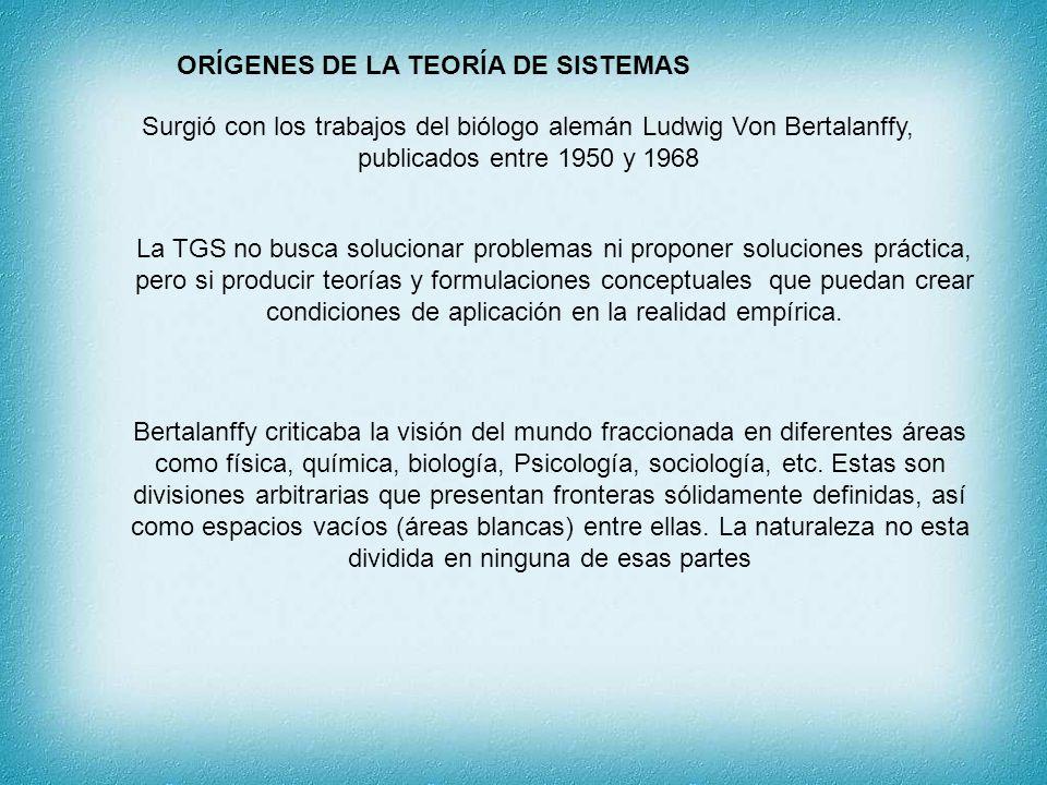 ORÍGENES DE LA TEORÍA DE SISTEMAS Surgió con los trabajos del biólogo alemán Ludwig Von Bertalanffy, publicados entre 1950 y 1968 La TGS no busca solu