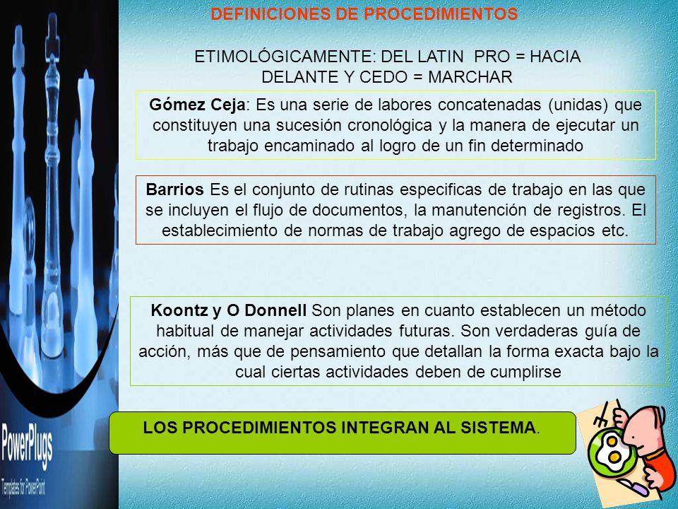 DEFINICIONES DE PROCEDIMIENTOS Gómez Ceja: Es una serie de labores concatenadas (unidas) que constituyen una sucesión cronológica y la manera de ejecu
