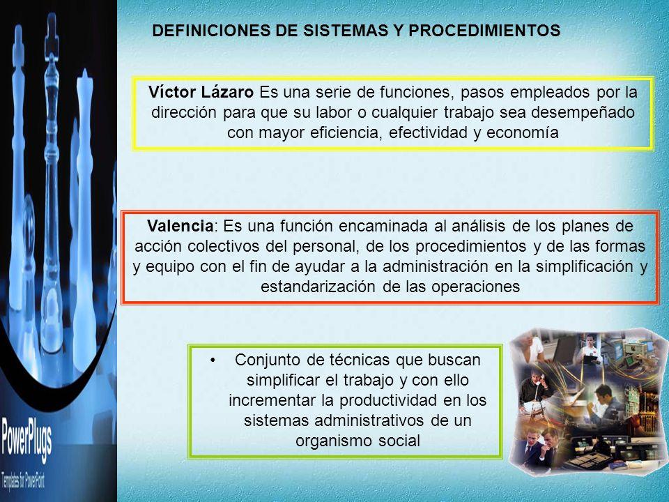 DEFINICIONES DE SISTEMAS Y PROCEDIMIENTOS Víctor Lázaro Es una serie de funciones, pasos empleados por la dirección para que su labor o cualquier trab