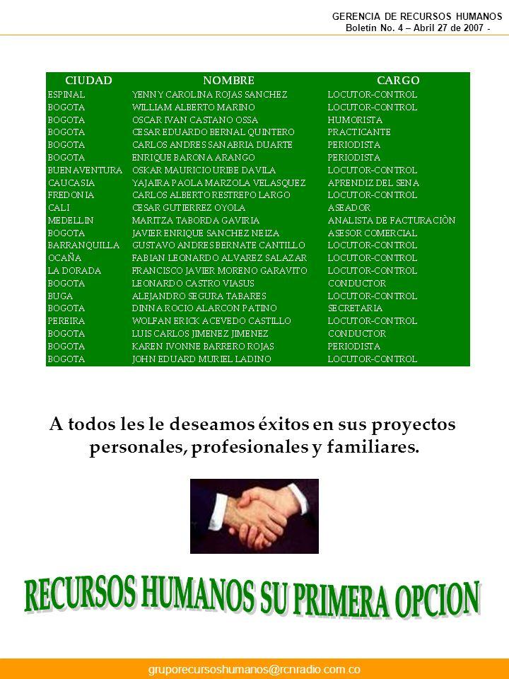 GERENCIA DE RECURSOS HUMANOS Boletín No. 4 – Abril 27 de 2007 - A todos les le deseamos éxitos en sus proyectos personales, profesionales y familiares