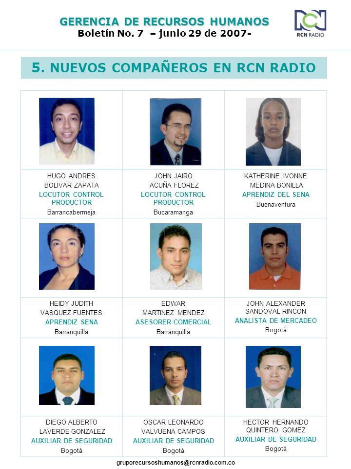 GERENCIA DE RECURSOS HUMANOS Boletín No. 7 – junio 29 de 2007- gruporecursoshumanos@rcnradio.com.co 5. NUEVOS COMPAÑEROS EN RCN RADIO HUGO ANDRES BOLI