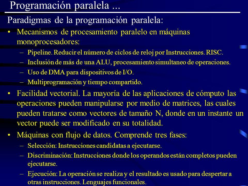 Paradigmas de la programación paralela: Mecanismos de procesamiento paralelo en máquinas monoprocesadores: –Pipeline. Reducir el número de ciclos de r
