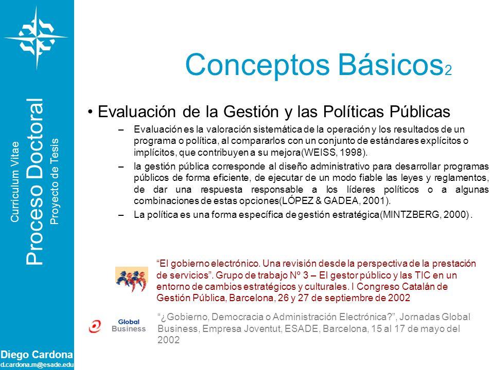 Diego Cardona d.cardona.m@esade.edu Conceptos Básicos 2 Evaluación de la Gestión y las Políticas Públicas –Evaluación es la valoración sistemática de