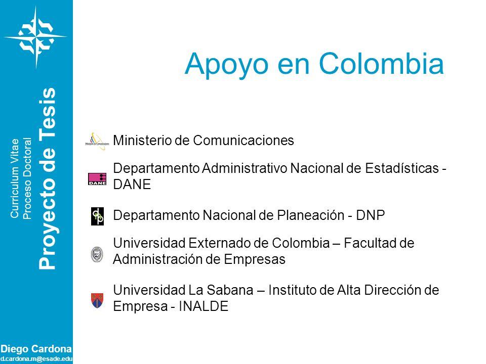 Diego Cardona d.cardona.m@esade.edu Apoyo en Colombia Curriculum Vitae Proceso Doctoral Proyecto de Tesis Universidad Externado de Colombia – Facultad