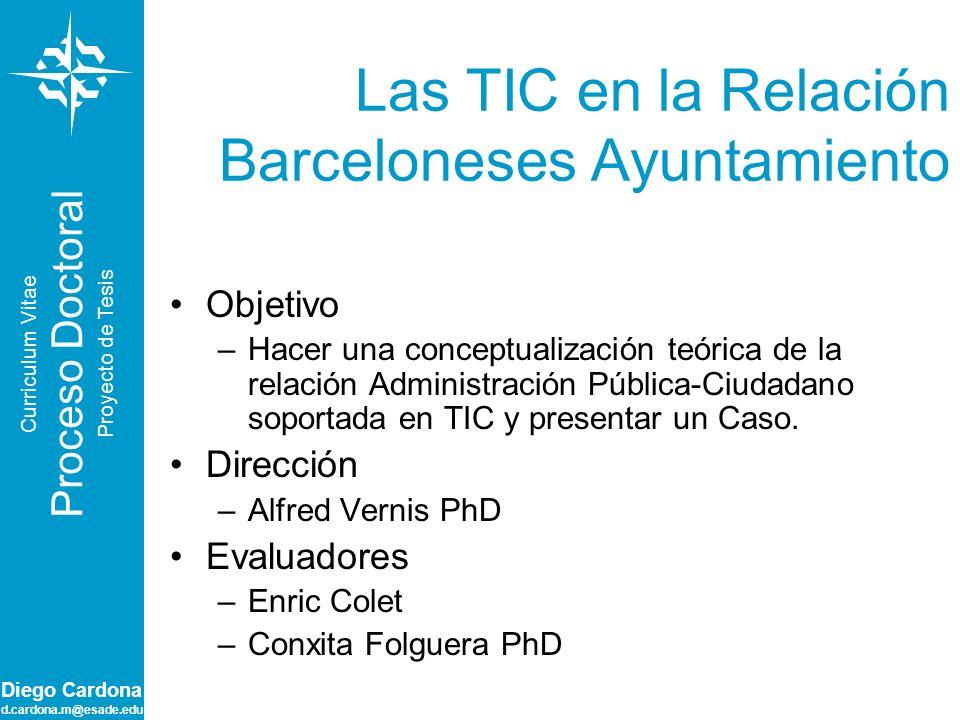 Diego Cardona d.cardona.m@esade.edu Comportamiento de Visitas por Canales Curriculum Vitae Proceso Doctoral Proyecto de Tesis