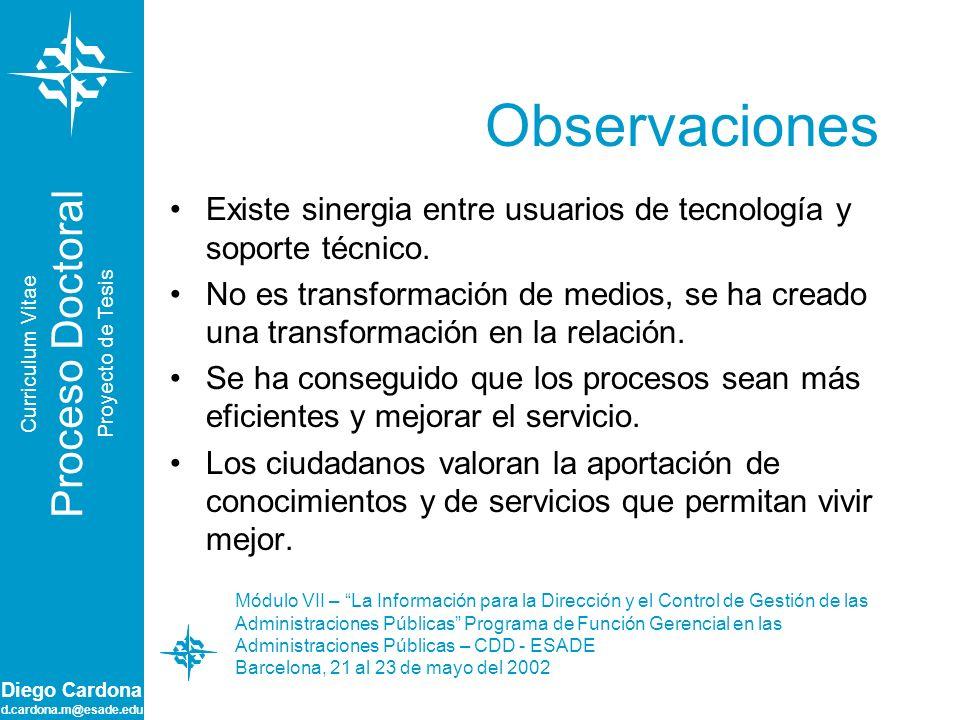 Diego Cardona d.cardona.m@esade.edu Observaciones Existe sinergia entre usuarios de tecnología y soporte técnico. No es transformación de medios, se h