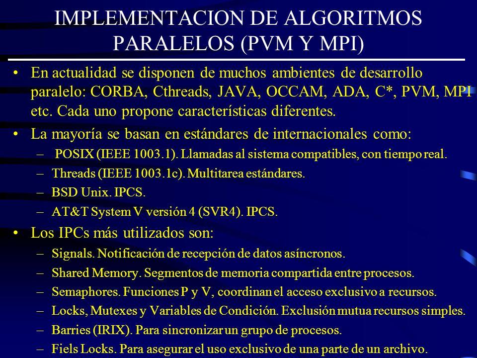 IMPLEMENTACION DE ALGORITMOS PARALELOS (PVM Y MPI) En actualidad se disponen de muchos ambientes de desarrollo paralelo: CORBA, Cthreads, JAVA, OCCAM,