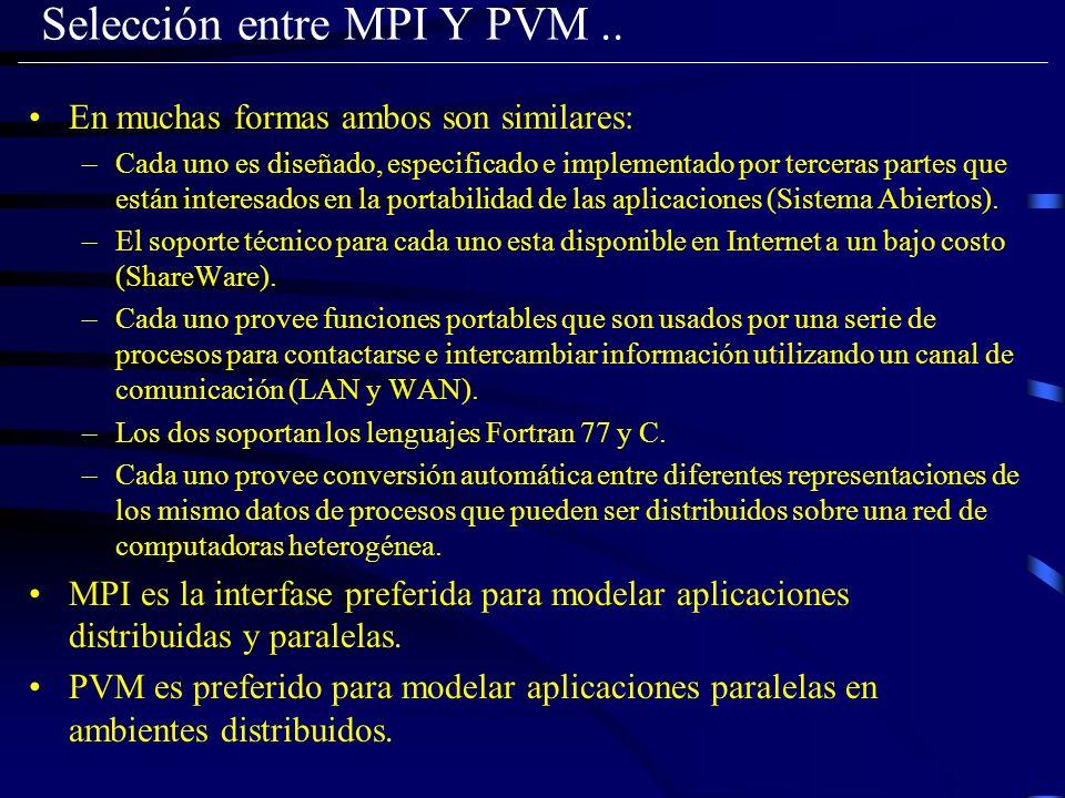 Selección entre MPI Y PVM.. En muchas formas ambos son similares: –Cada uno es diseñado, especificado e implementado por terceras partes que están int