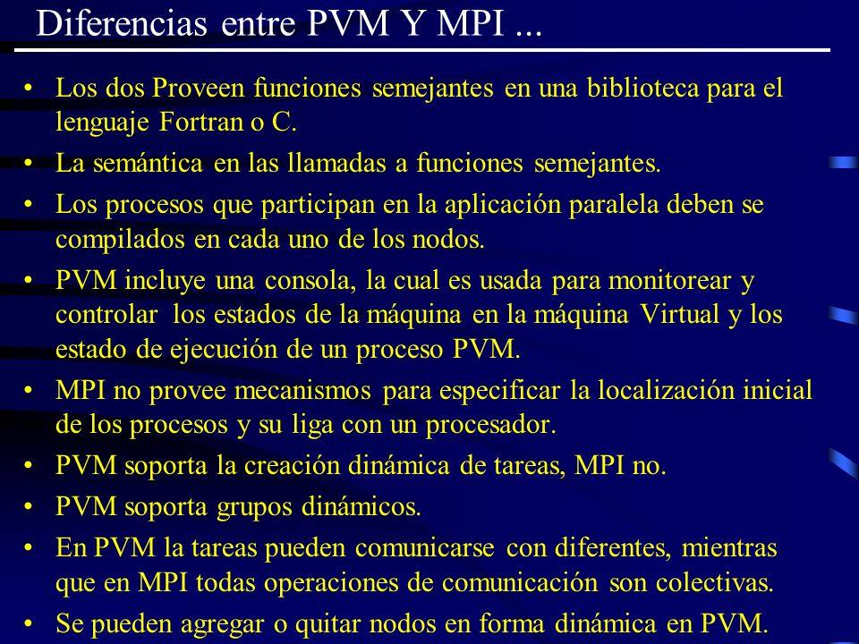 Diferencias entre PVM Y MPI... Los dos Proveen funciones semejantes en una biblioteca para el lenguaje Fortran o C. La semántica en las llamadas a fun