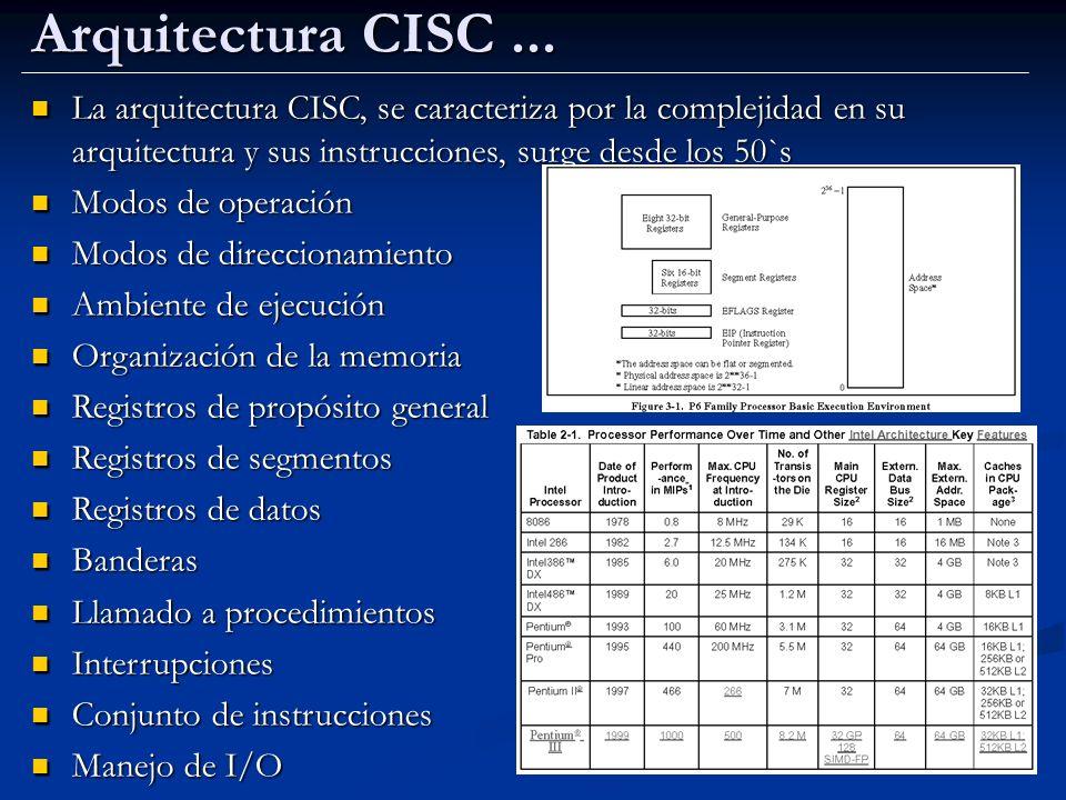 Arquitectura CISC... La arquitectura CISC, se caracteriza por la complejidad en su arquitectura y sus instrucciones, surge desde los 50`s La arquitect