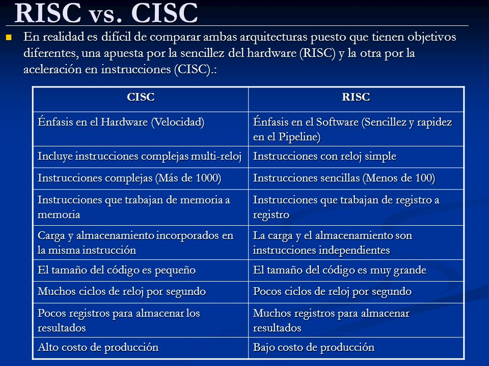 RISC vs. CISC En realidad es difícil de comparar ambas arquitecturas puesto que tienen objetivos diferentes, una apuesta por la sencillez del hardware