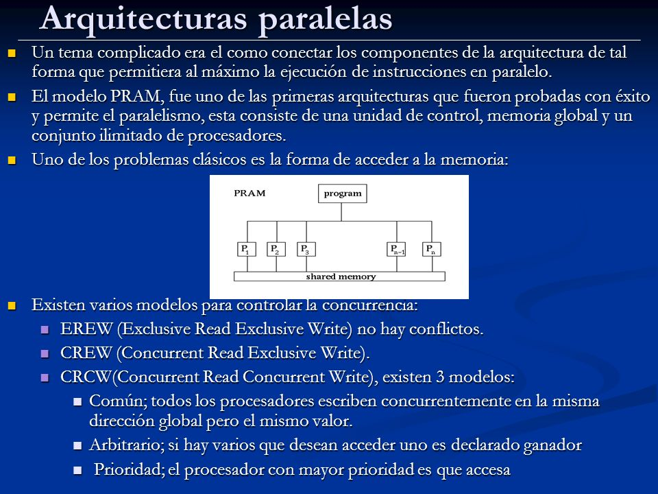 Arquitecturas paralelas Un tema complicado era el como conectar los componentes de la arquitectura de tal forma que permitiera al máximo la ejecución