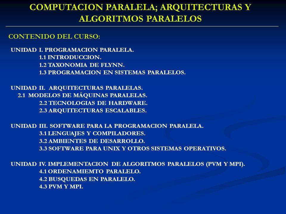 UNIDAD I. PROGRAMACION PARALELA. 1.1 INTRODUCCION. 1.2 TAXONOMIA DE FLYNN. 1.3 PROGRAMACION EN SISTEMAS PARALELOS. UNIDAD II. ARQUITECTURAS PARALELAS.