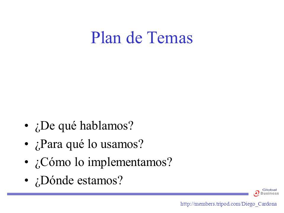 http://members.tripod.com/Diego_Cardona Plan de Temas ¿De qué hablamos? ¿Para qué lo usamos? ¿Cómo lo implementamos? ¿Dónde estamos?