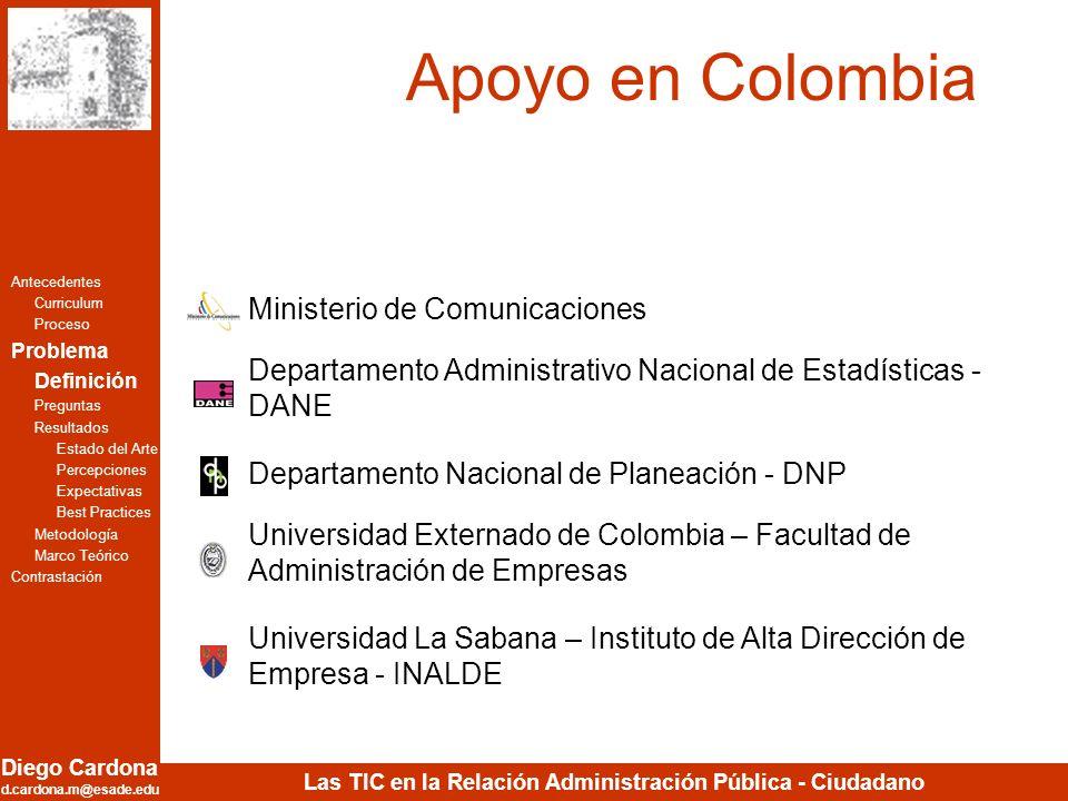 Diego Cardona d.cardona.m@esade.edu Las TIC en la Relación Administración Pública - Ciudadano Apoyo en Colombia Universidad Externado de Colombia – Fa