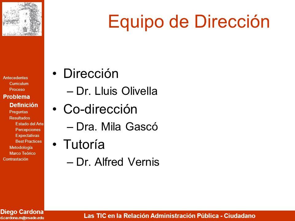 Diego Cardona d.cardona.m@esade.edu Las TIC en la Relación Administración Pública - Ciudadano Equipo de Dirección Dirección –Dr. Lluis Olivella Co-dir