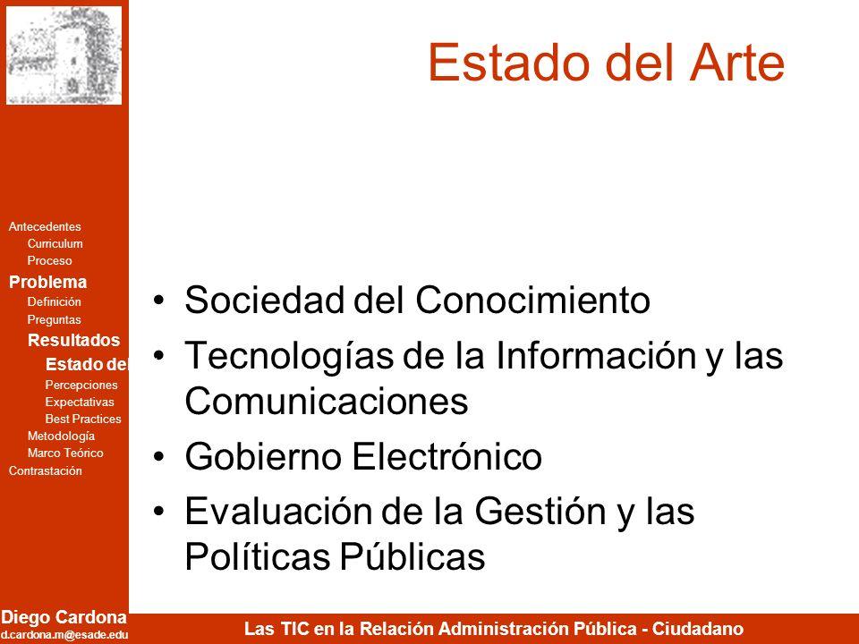 Diego Cardona d.cardona.m@esade.edu Las TIC en la Relación Administración Pública - Ciudadano Estado del Arte Sociedad del Conocimiento Tecnologías de