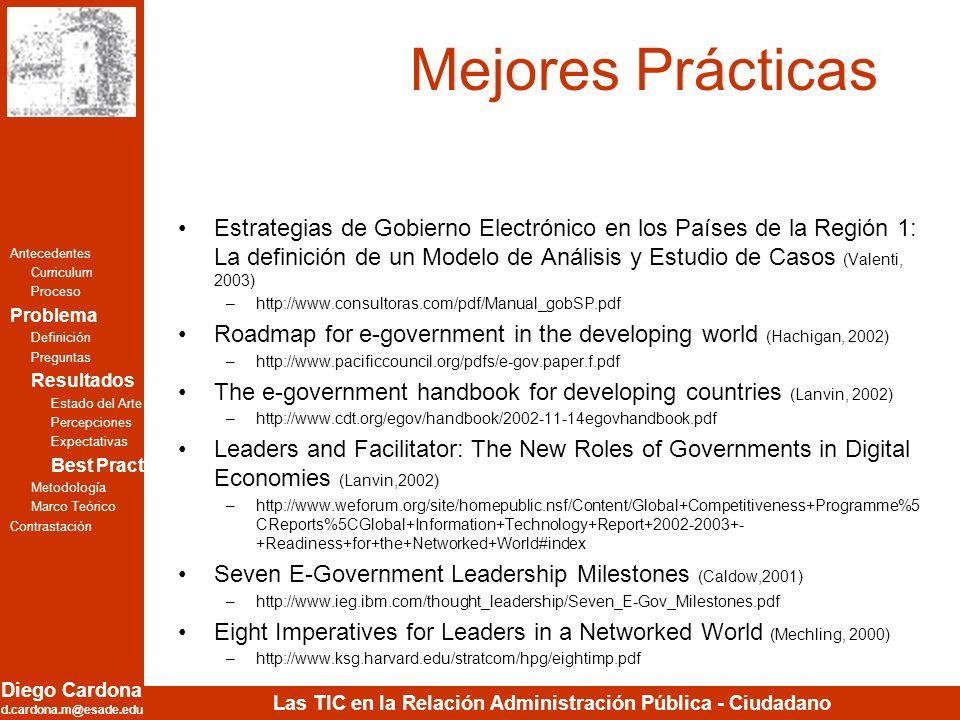 Diego Cardona d.cardona.m@esade.edu Las TIC en la Relación Administración Pública - Ciudadano Mejores Prácticas Estrategias de Gobierno Electrónico en