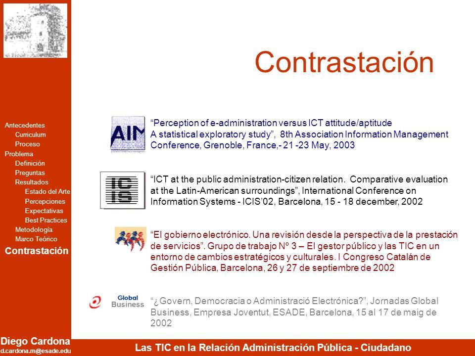 Diego Cardona d.cardona.m@esade.edu Las TIC en la Relación Administración Pública - Ciudadano Contrastación Antecedentes Curriculum Proceso Problema D