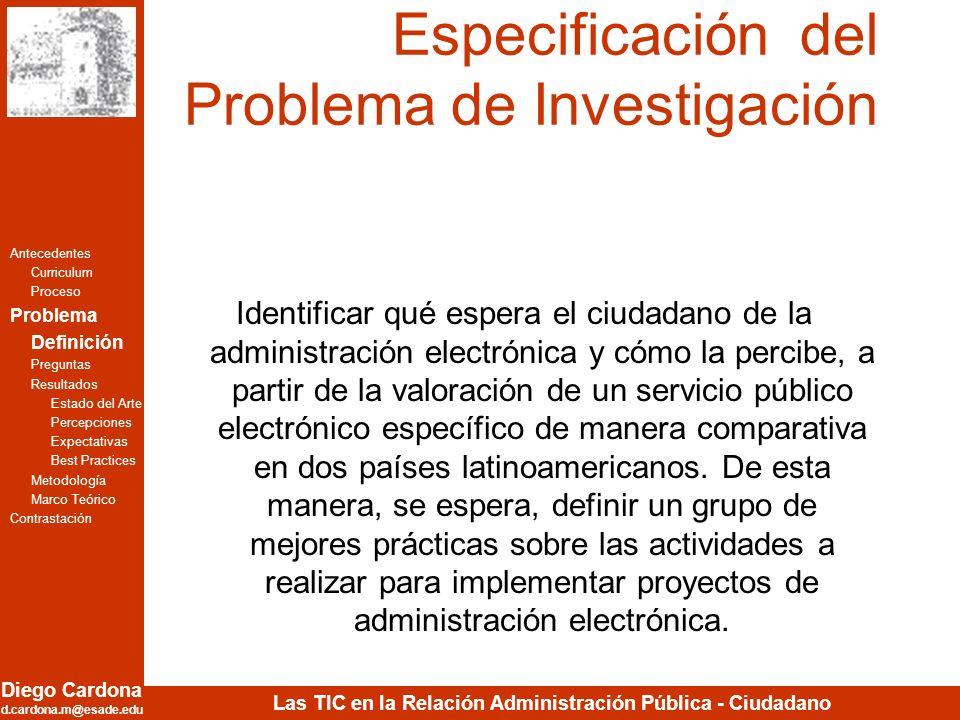 Diego Cardona d.cardona.m@esade.edu Las TIC en la Relación Administración Pública - Ciudadano Especificación del Problema de Investigación Identificar