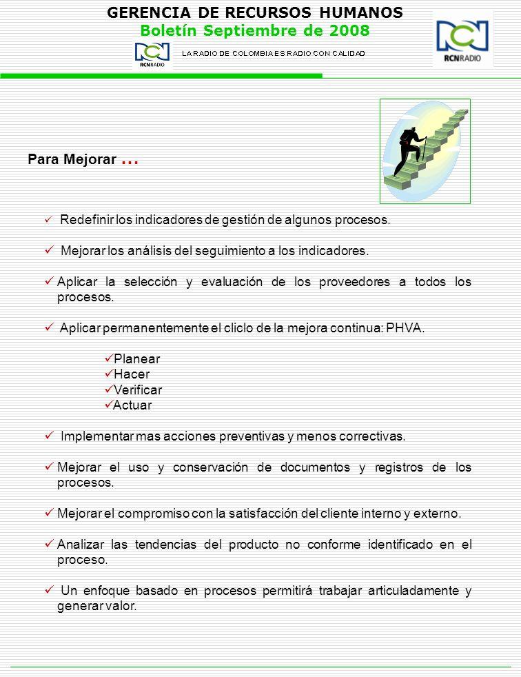 GERENCIA DE RECURSOS HUMANOS Boletín Septiembre de 2008 Para Mejorar … Redefinir los indicadores de gestión de algunos procesos. Mejorar los análisis