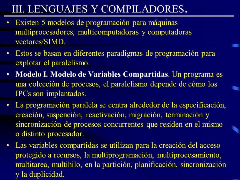 III. LENGUAJES Y COMPILADORES. Existen 5 modelos de programación para máquinas multiprocesadores, multicomputadoras y computadoras vectores/SIMD. Esto