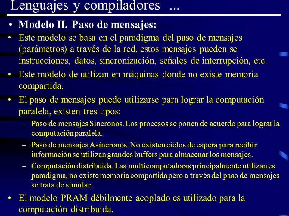 Lenguajes y compiladores... Este modelo se basa en el paradigma del paso de mensajes (parámetros) a través de la red, estos mensajes pueden se instruc
