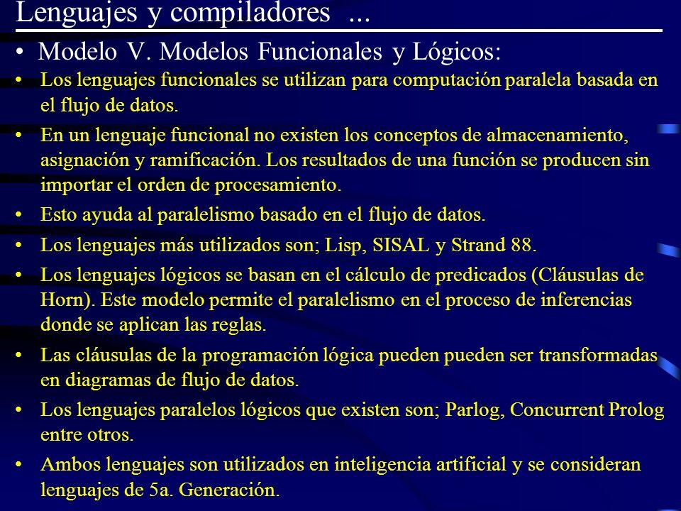 Modelo V. Modelos Funcionales y Lógicos: Los lenguajes funcionales se utilizan para computación paralela basada en el flujo de datos. En un lenguaje f