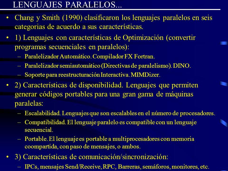 LENGUAJES PARALELOS... Chang y Smith (1990) clasificaron los lenguajes paralelos en seis categorias de acuerdo a sus características. 1) Lenguajes con