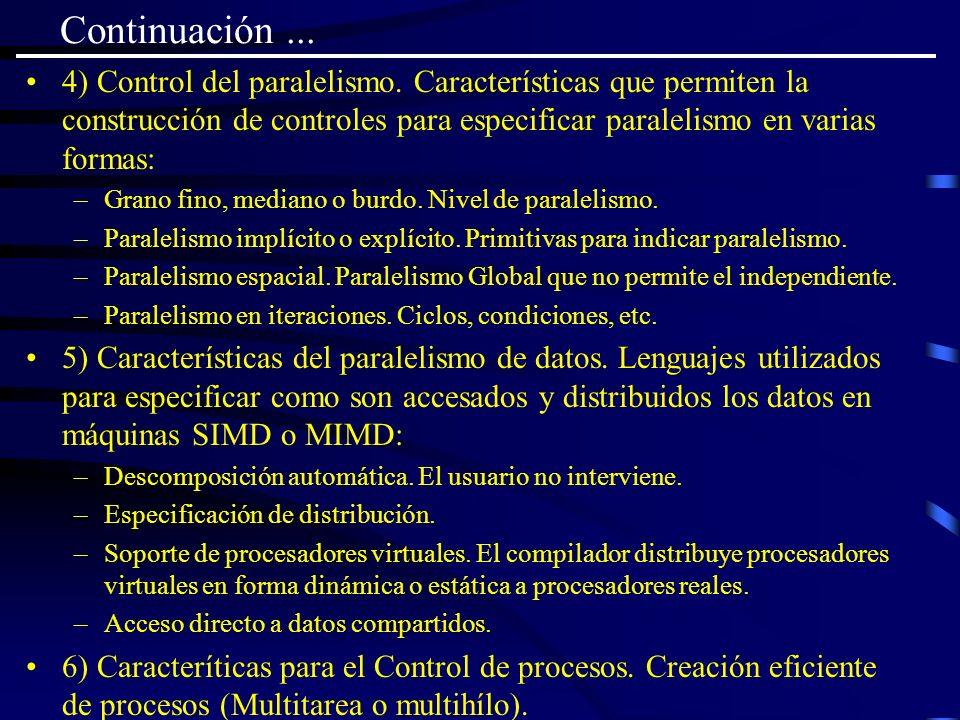 Continuación... 4) Control del paralelismo. Características que permiten la construcción de controles para especificar paralelismo en varias formas: –