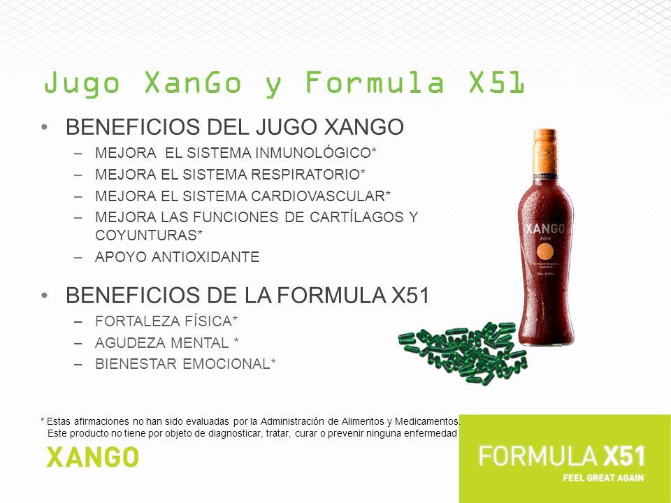 Jugo XanGo y Formula X51 BENEFICIOS DEL JUGO XANGO –MEJORA EL SISTEMA INMUNOLÓGICO* –MEJORA EL SISTEMA RESPIRATORIO* –MEJORA EL SISTEMA CARDIOVASCULAR