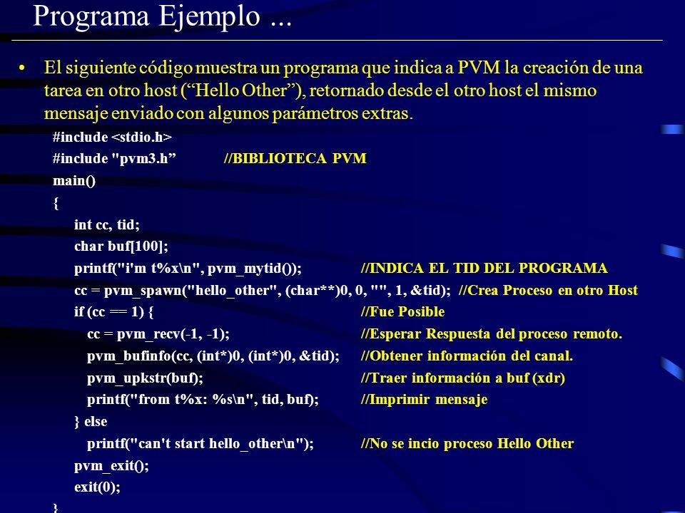 Programa Ejemplo... El siguiente código muestra un programa que indica a PVM la creación de una tarea en otro host (Hello Other), retornado desde el o