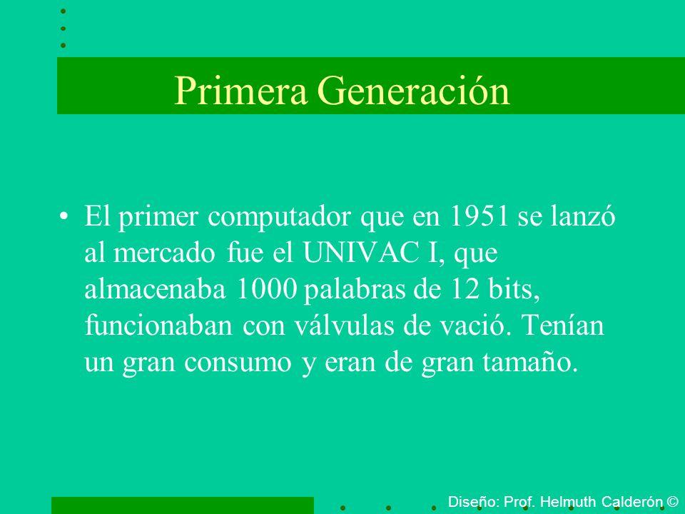Primera Generación El primer computador que en 1951 se lanzó al mercado fue el UNIVAC I, que almacenaba 1000 palabras de 12 bits, funcionaban con válv