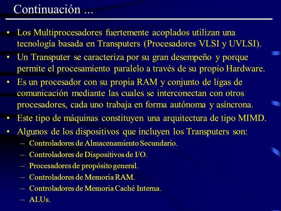 Continuación... Los Multiprocesadores fuertemente acoplados utilizan una tecnología basada en Transputers (Procesadores VLSI y UVLSI). Un Transputer s