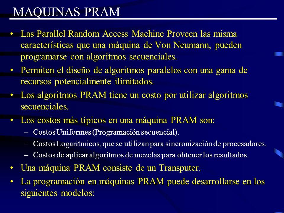 MAQUINAS PRAM Las Parallel Random Access Machine Proveen las misma características que una máquina de Von Neumann, pueden programarse con algoritmos s