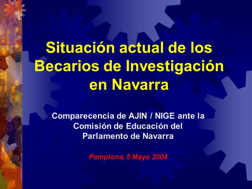 Situación actual de los Becarios de Investigación en Navarra Comparecencia de AJIN / NIGE ante la Comisión de Educación del Parlamento de Navarra Pamp