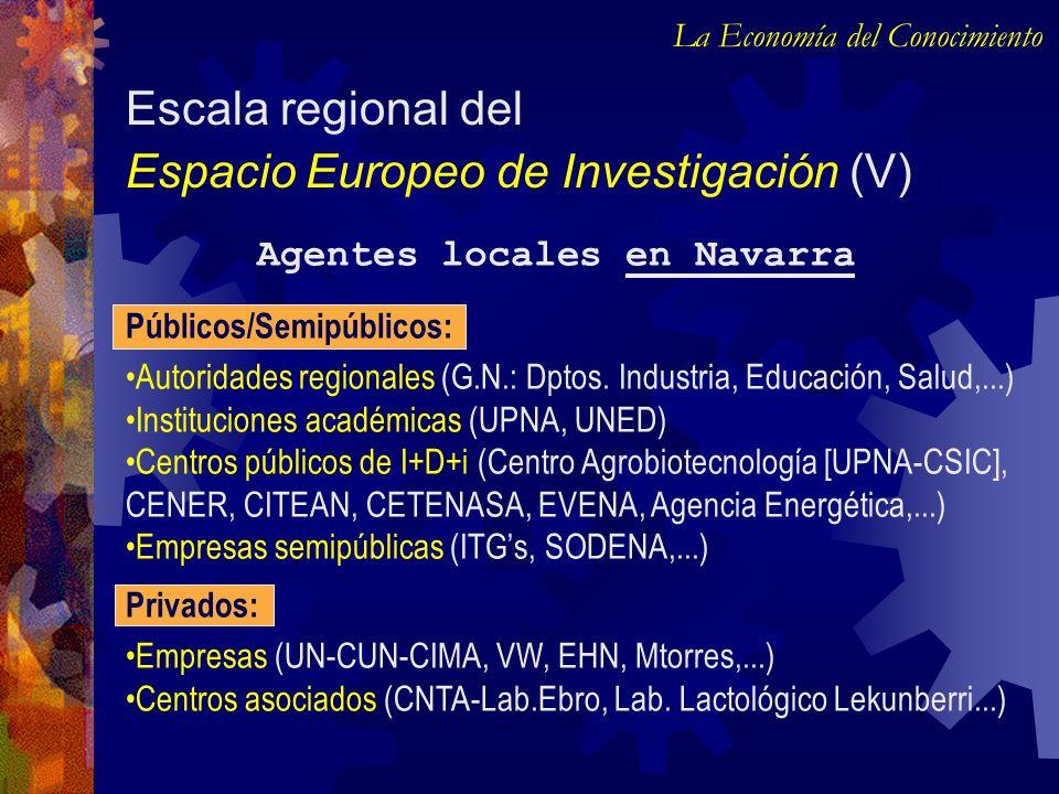 Agentes locales en Navarra Escala regional del Espacio Europeo de Investigación (V) La Economía del Conocimiento Públicos/Semipúblicos: Autoridades re
