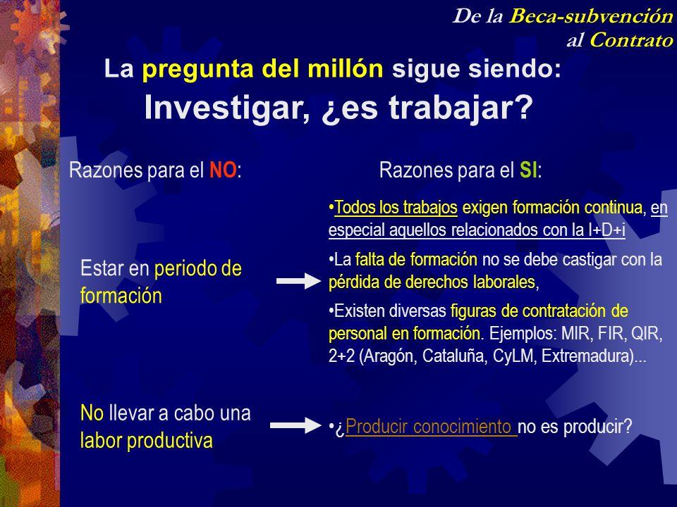 De la Beca-subvención al Contrato La pregunta del millón sigue siendo: Investigar, ¿es trabajar? Razones para el NO : Estar en periodo de formación No