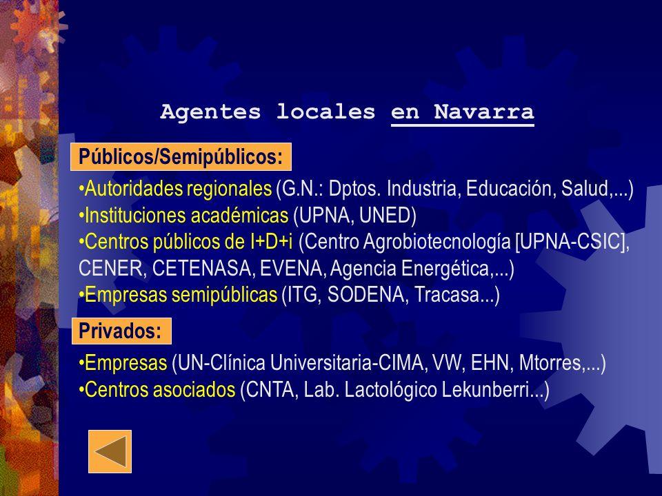 Agentes locales en Navarra Públicos/Semipúblicos: Autoridades regionales (G.N.: Dptos. Industria, Educación, Salud,...) Instituciones académicas (UPNA