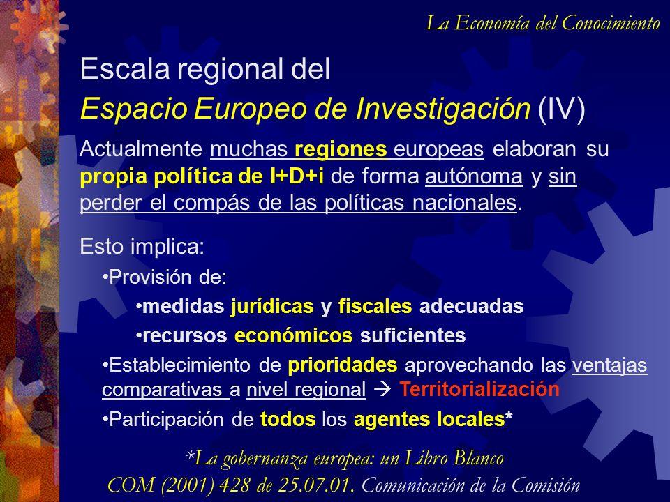 Actualmente muchas regiones europeas elaboran su propia política de I+D+i de forma autónoma y sin perder el compás de las políticas nacionales. Escala