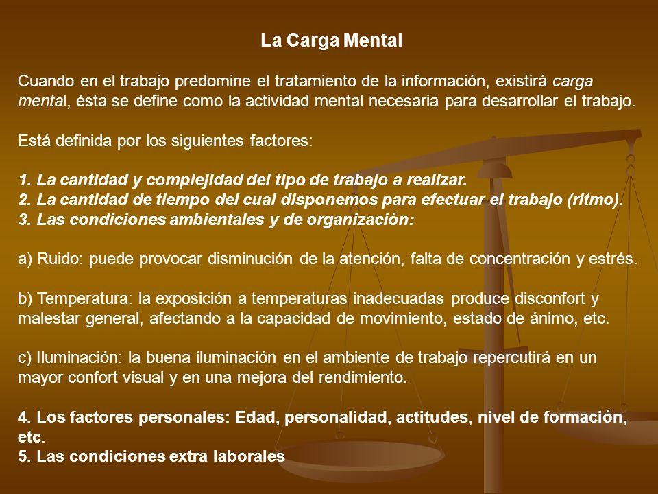 La Carga Mental Cuando en el trabajo predomine el tratamiento de la información, existirá carga mental, ésta se define como la actividad mental necesa