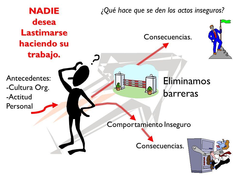 Antecedentes: -Cultura Org. -Actitud Personal Consecuencias. Comportamiento Inseguro Consecuencias. Eliminamos barreras NADIEdesea Lastimarse haciendo
