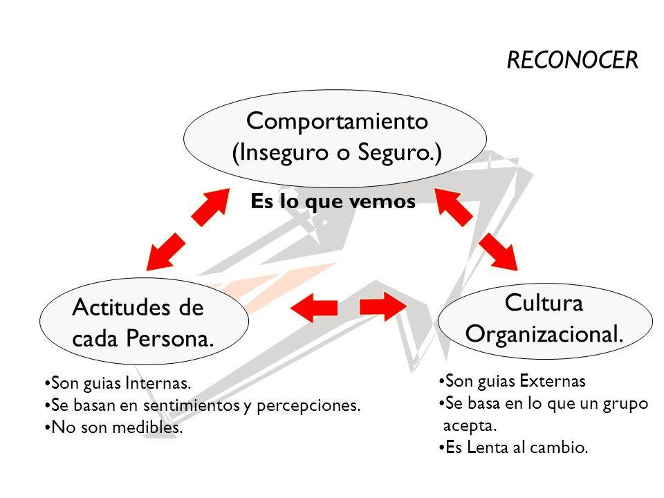 Comportamiento (Inseguro o Seguro.) Cultura Organizacional. Actitudes de cada Persona. Son guias Internas. Se basan en sentimientos y percepciones. No
