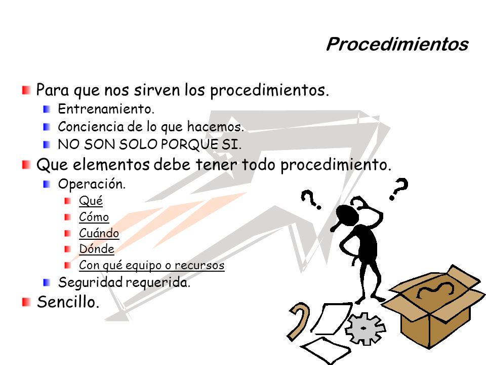 Procedimientos Para que nos sirven los procedimientos. Entrenamiento. Conciencia de lo que hacemos. NO SON SOLO PORQUE SI. Que elementos debe tener to