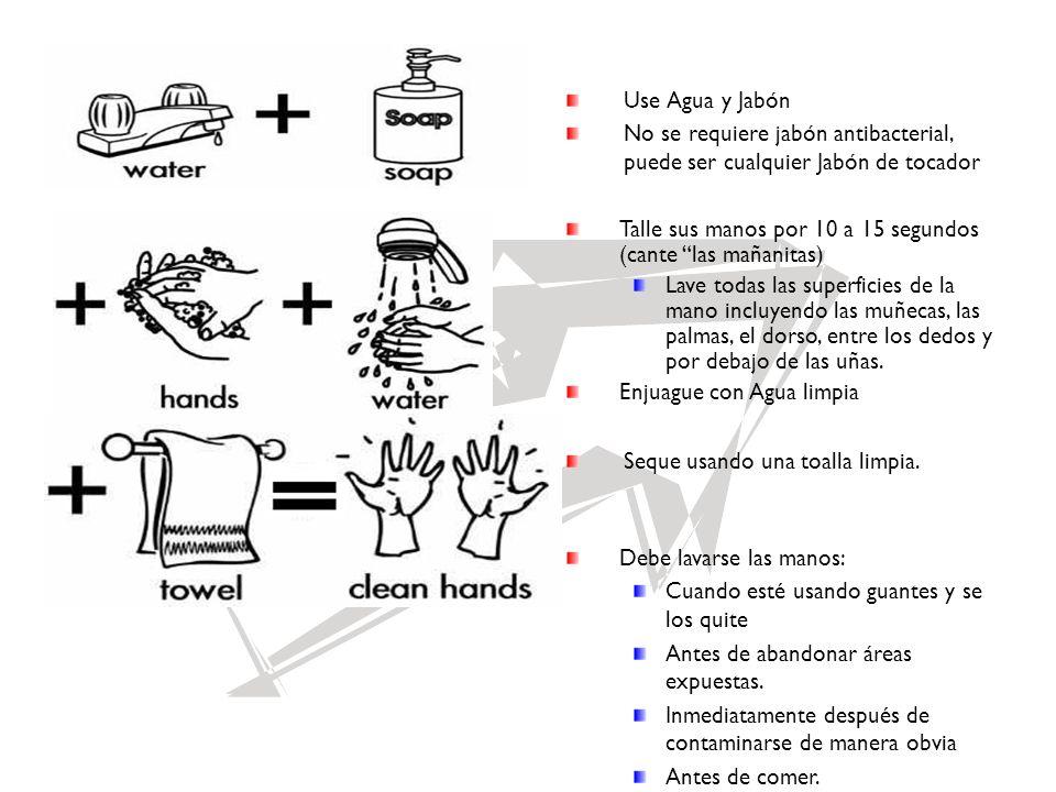 Use Agua y Jabón No se requiere jabón antibacterial, puede ser cualquier Jabón de tocador Talle sus manos por 10 a 15 segundos (cante las mañanitas) L